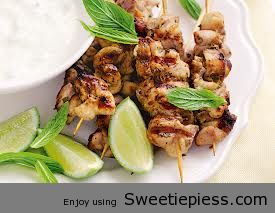 Barbecued lime and mint chicken skewers By Mr.Tim