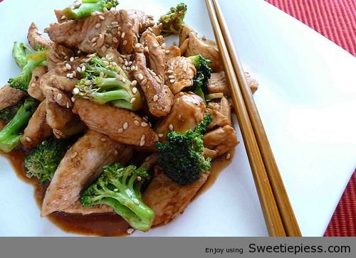 Sweetie Pie's Share  Chicken and Broccoli Stir fry